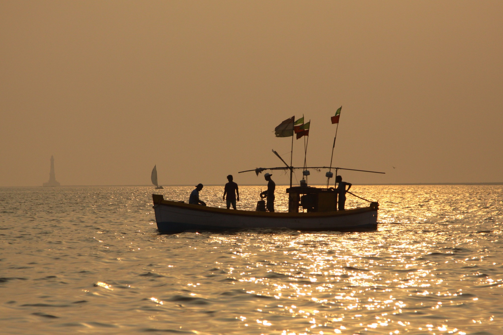 Fishermen heading home with the days catch