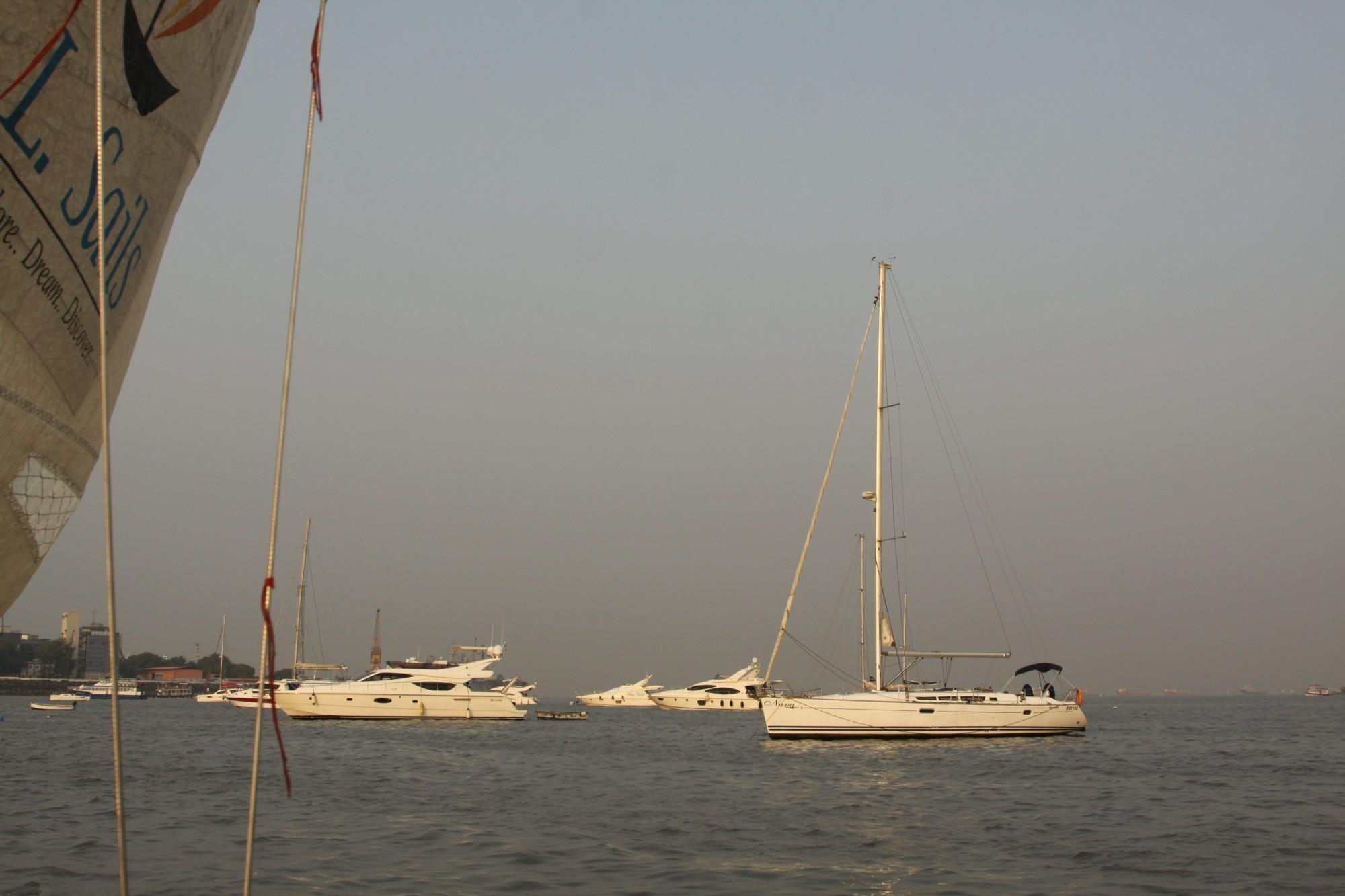 Sailboats in the Mumbai Harbour