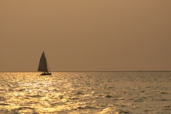A sailboat heading home at sunset