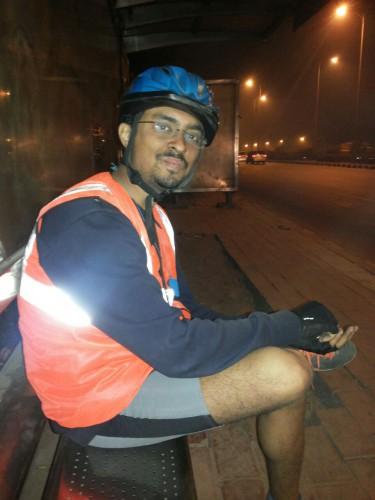 Taking a break after entering Delhi